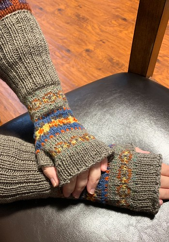 """Paulette knit these gorgeous fingerless mitts using Jamieson & Smith 2ply and some Bergère de France Ideal. Pattern is Fair Isle Arm Warmers by Yoko Hatta found in """"60 Quick Luxury Knits"""""""