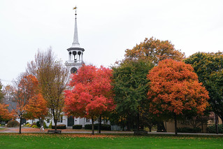Autumn colors over a New England Town Common