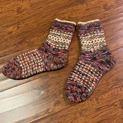 Socks knit by Paulette from the book Colorful Knit Soxx by Kerstin Balke