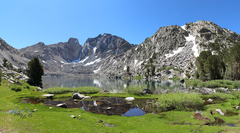 Panorama view of Dragon Lake and Dragon Peak