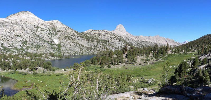 Looking northwest into the Rae Lakes Basin from the Dragon Lake Trail, Fin Dome right of center