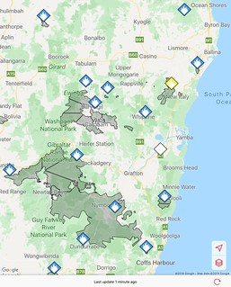 Fires around northern NSW Nov 2019 from the Fires Near Me App.. 16thNov