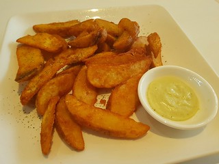 Potato Wedges with Tartare Sauce at Loving Hut