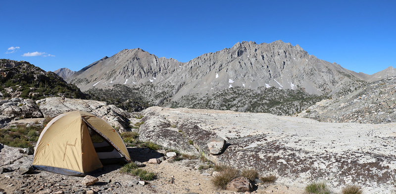 Our tent and campsite on the north side of Glen Pass, looking north toward Diamond Pk and Black Mtn