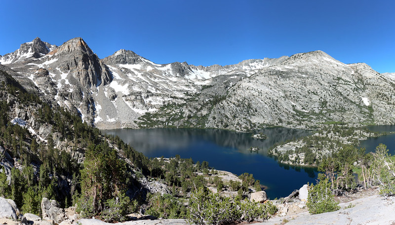 Upper Rae Lake from the Dragon Lake Trail, with Painted Lady and Glen Pass on the left