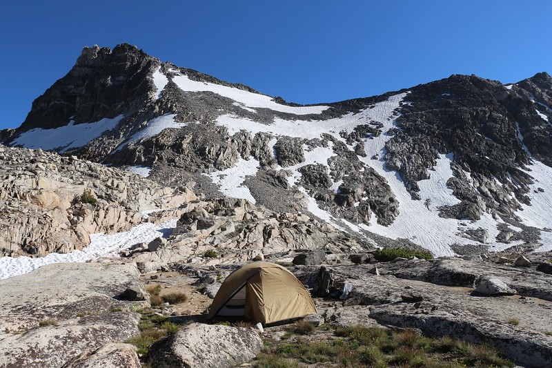 Our tent and campsite at 11300 feet elevation, just to the north of Glen Pass - yes, that is Glen Pass, center