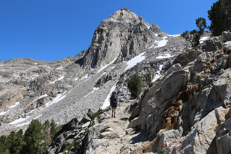 Painted Lady rises majestically above us as we head south on the Pacific Crest Trail from Rae Lakes