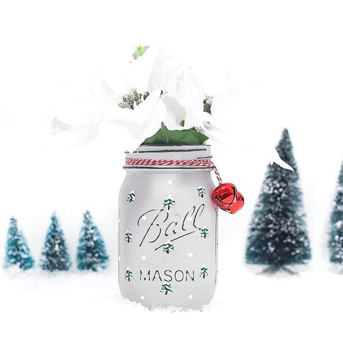 painted snow tree mason jar