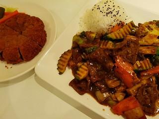 Salt and Pepper Mushroom; Beijing Black Bean at Loving Hut