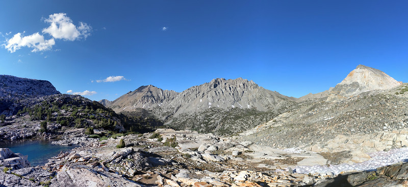 Panorama view north from our campsite below Glen Pass, with Diamond Pk, Black Mtn, and Painted Lady