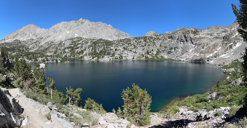 Panorama shot of upper Rae Lake from the Pacific Crest Trail