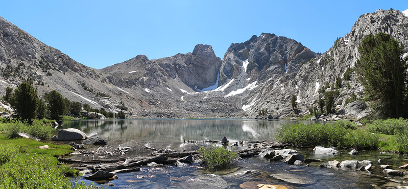Panorama shot of Dragon Lake and Dragon Peak from the lake's outlet