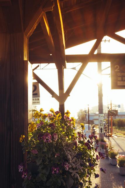 Sunset at Obuse Station, Nagano