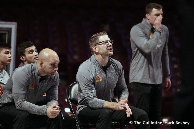 Minnesota Coaches Luke Becker, Brandon Eggum, and Trevor Brandvold. 191115AMK0098