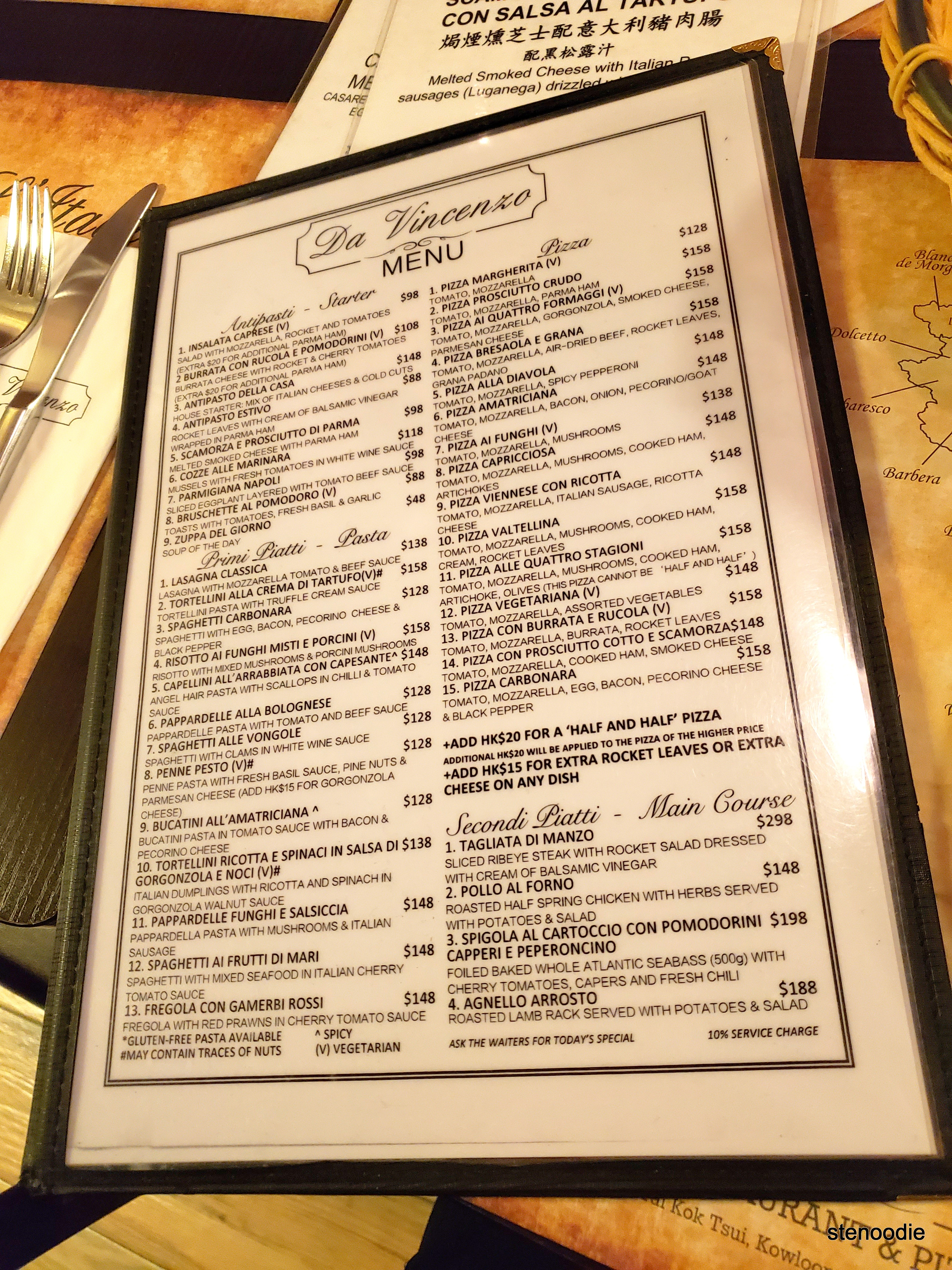 Ristorante Pizzeria Da Vincenzo menu and prices