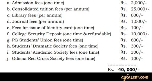 Odisha PG Medical admission 2020 fee structure