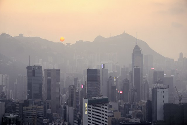 Smoggy sunset over Hong Kong