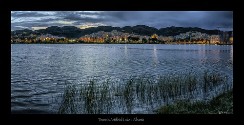 tirana bluehour albania balkans park water lake artificiallake sunset citylights nightscape