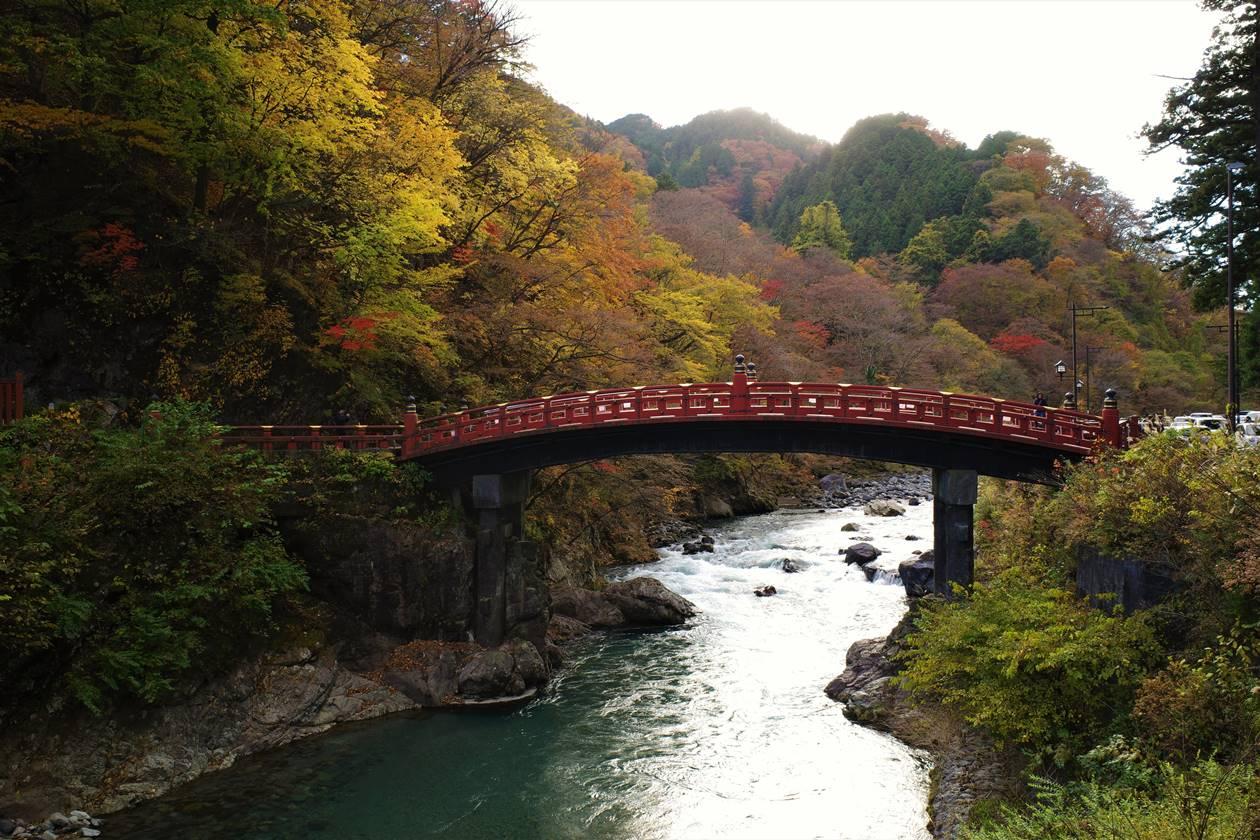 日光・神橋の紅葉風景