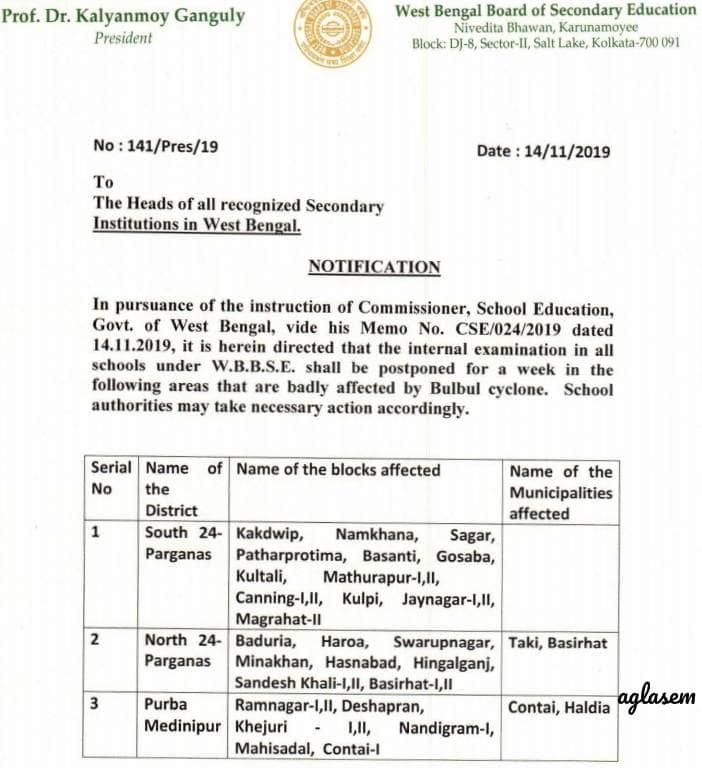 WBBSE postpones internal exams in cyclone hit areas of South 24 Parganas, North 24 Parganas, Purba Medinipur