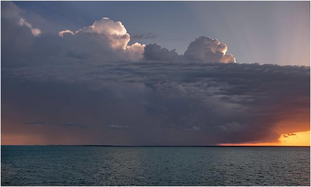 Sunset storm over Cox Pensinsula, Darwin Harbour, NT, Australia