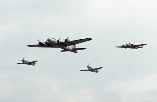 Warbirds fly by at the 1985 Bex Airshow, CH