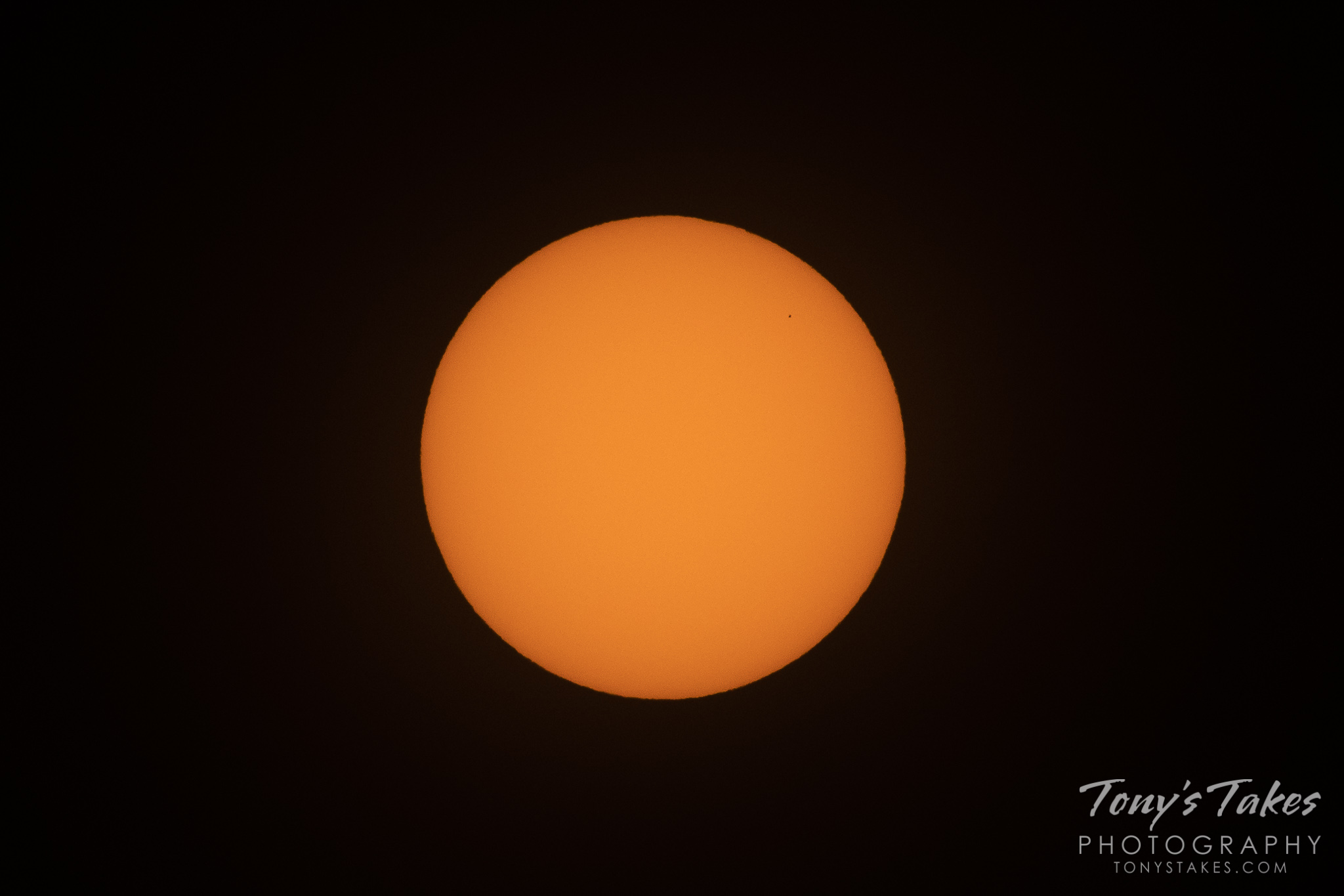 The planet Mercury transits in front of the sun. (© Tony's Takes)