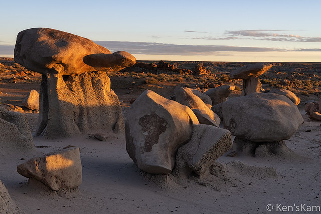 Sunrise light on Bisti Rocks