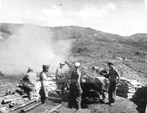 90-mm Anti-Aircraft Artillery Gun of Battery A, 746th Field Artillery used for direct fire on Japanese positions, Cebu, Philippines April 1945.