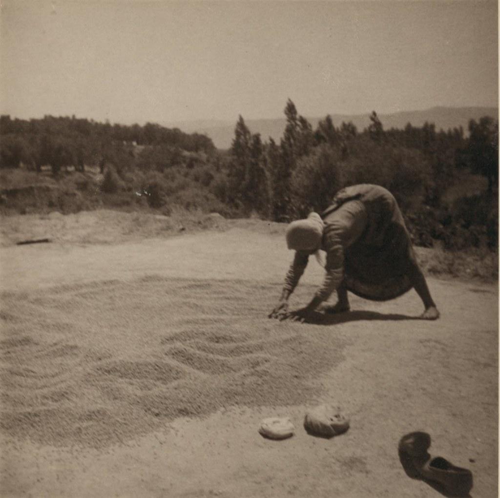 16. 28 июля. Баниас. Женщина сушит булгур (крупа из обработанной кипятком, высушенной и раздробленной пшеницы)