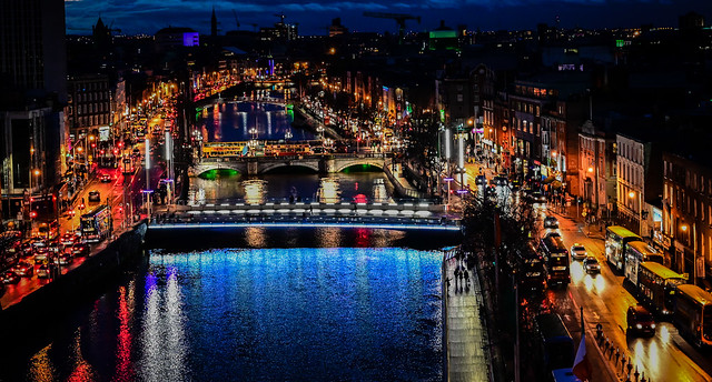 City Lights and Bridges over the River Liffey at Night - Dublin Ireland