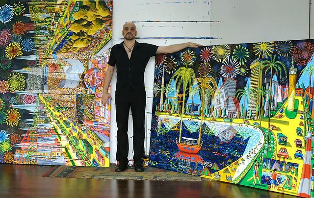 רפי פרץ צייר אמן ישראלי מודרני עכשווי אמנות ישראלית עכשווית מודרנית ציור נאיבי  אקריליק  ציורים  נאיביים למכירה  ציורי ענק גדולים מכירת אומנות מוכר יצירות נאיביות
