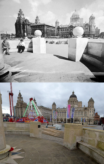 Pier Head from the Liverpool Naval Memorial, 1960s and 2019