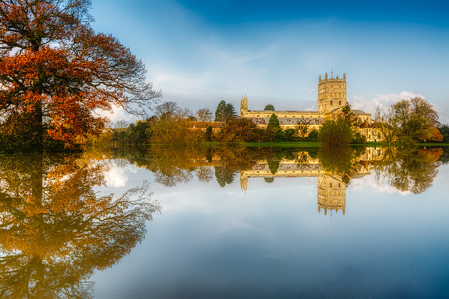 Tewkesbury Abbey flood reflection