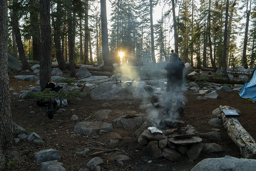 weaver lake backpacking sequoia smoke campfire camp sunset trees photographer sierra nevada