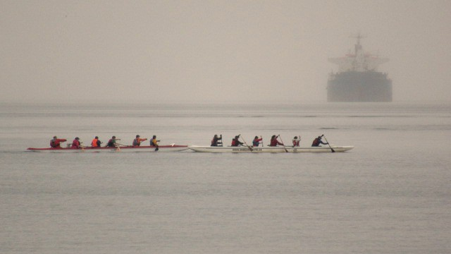 foggy day rowers