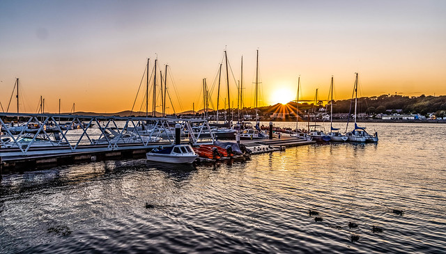 Sunset over pwllheli Harbour