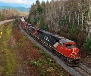 CN 5746 & 2623 lead a Kitimat bound train south, off the Skeena River bridge, near Terrace, BC, at the north end of CN's Kitimat Subdivision - 04 November 2019 [© WCK-JST]