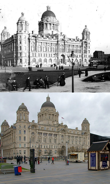 Port of Liverpool Building,  around 1910 and 2019