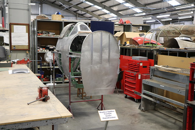 Spitfire cockpit section (Replica) - RAF Cosford Museum restoration hall.