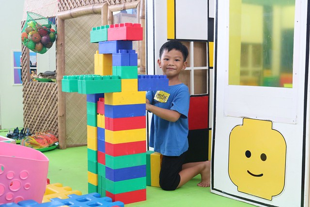 Having fun with the giant building     blocks at SM Kid City 2019