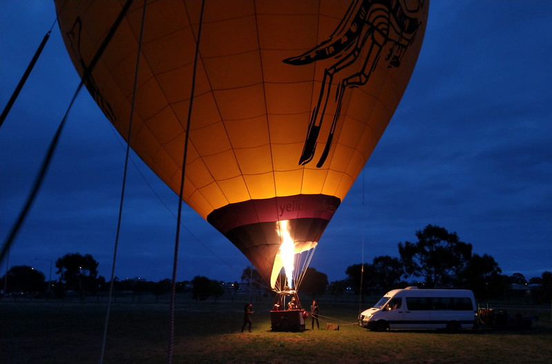 Balloon taking off from Newport
