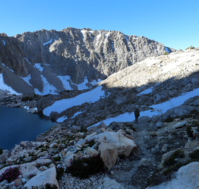 Heading south from Glen Pass on the PCT, but we've still got a few more icy snow patches to traverse