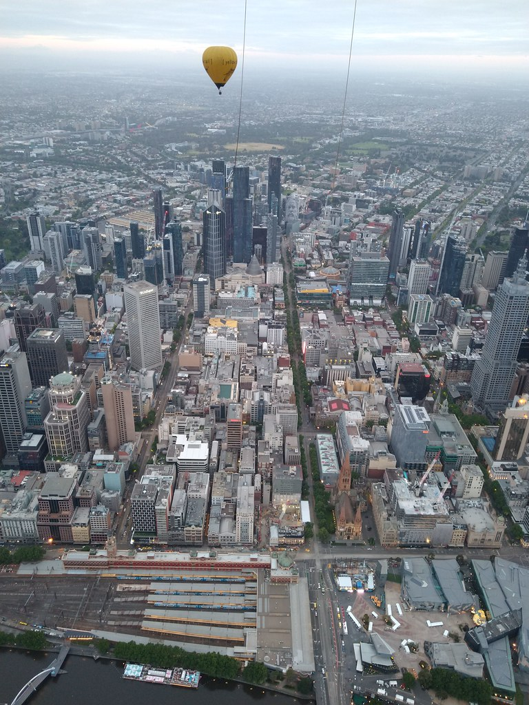 View over Melbourne from a hot air balloon 17/11/2019 6:04am