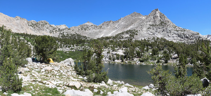 View from our campsite at the Kearsarge Lakes, Kearsarge Pass (far left) and Peak 12423 (right of center)