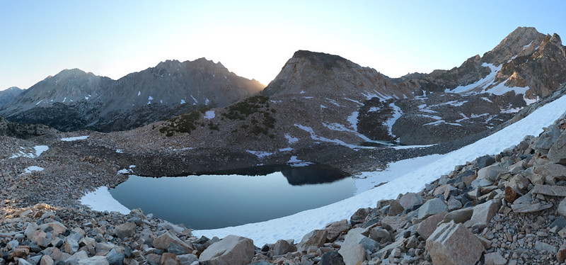 Panorama view from the PCT north of Glen Pass, with Diamond Pk, Black Mtn, Painted Lady, and Mt Rixford