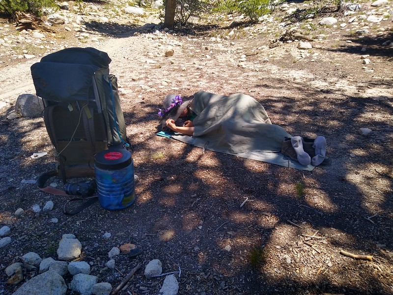 It's only noon but we woke up at 3am so Vicki is taking a well-deserved nap along the Bullfrog Lake Trail