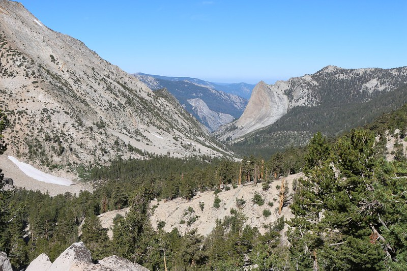 Zoomed-in view of Charlotte Dome, far down the Charlotte Creek Valley from the PCT