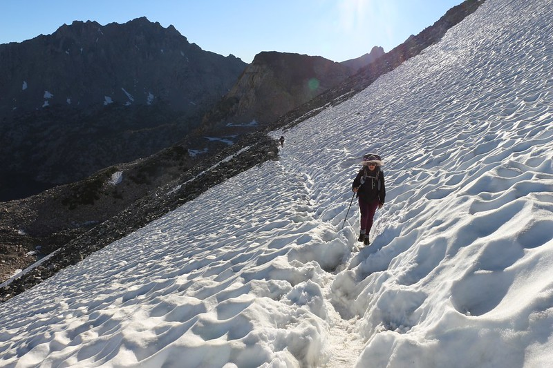 Looking back down the icy snow on the PCT north of Glen Pass