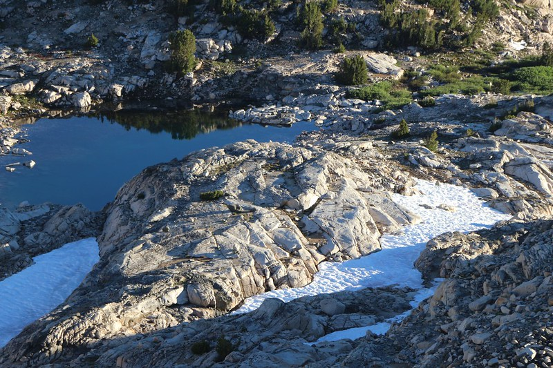 Zoomed-in view of last night's campsite (the flat spot, dead center) on the PCT north of Glen Pass